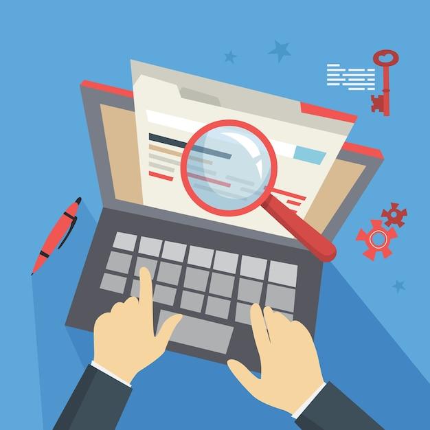 Concetto di seo. idea di ottimizzazione dei motori di ricerca per il sito web come strategia di marketing. promozione di pagine web su internet. illustrazione Vettore Premium