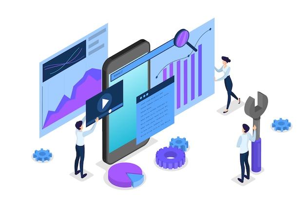 Concetto di seo. idea di ottimizzazione dei motori di ricerca per il sito web Vettore Premium