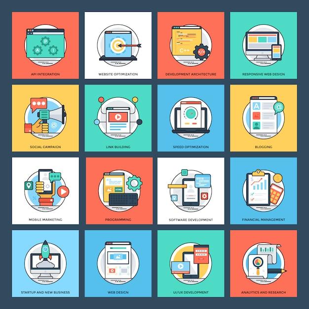 Set di icone piane di seo e sviluppo Vettore Premium