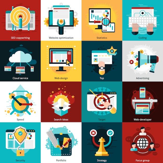Icone di sviluppo seo Vettore Premium