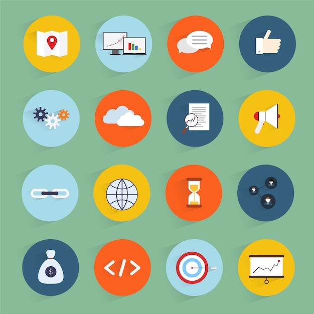Le icone piane di vendita di seo hanno messo con l'illustrazione di vettore isolata codice pulito di profitto della comunità Vettore Premium