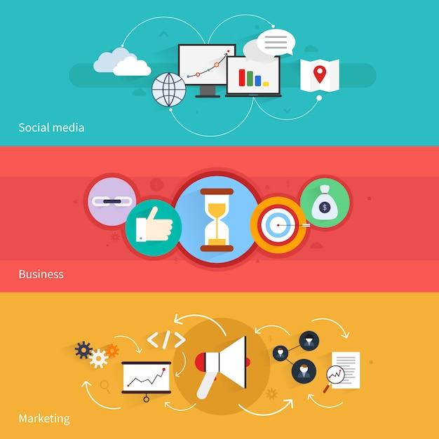 L'insegna orizzontale di vendita di seo ha messo con l'illustrazione di vettore isolata affare di media sociali Vettore Premium