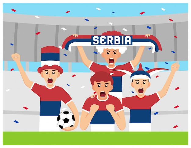 Sostenitori della serbia nella progettazione piana Vettore Premium
