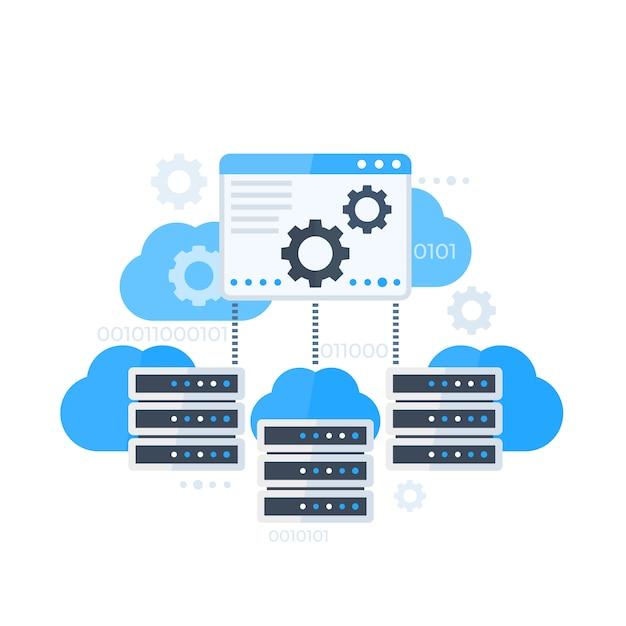 Pannello di controllo del server, hosting software illustrazione vettoriale Vettore Premium