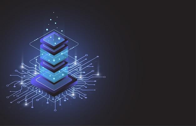 Sala server isometrica, dati di archiviazione cloud, data center, big data Vettore Premium