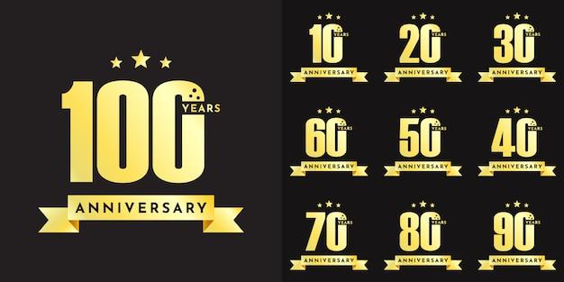Impostare il disegno del modello illustrazione celebrazione anniversario da 10 a 100 anni Vettore Premium