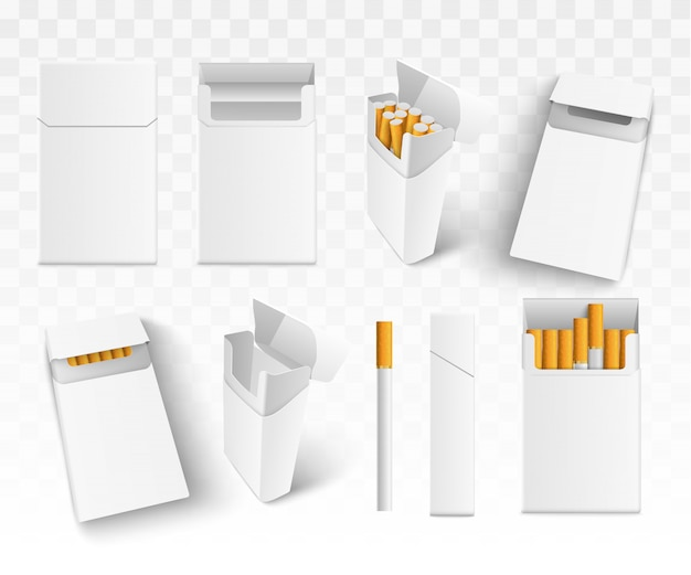 Impostare 3d sigarette realistiche nel pacchetto, su sfondo trasparente. isolato. Vettore Premium