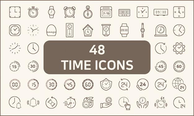 Set di 48 icone linea stile orologio e tempo. contiene icone come cronometro, sveglia, orologio, vetro sabbia, timer e altro. personalizzare il colore, controllo della larghezza del tratto, ridimensionamento semplice. Vettore Premium