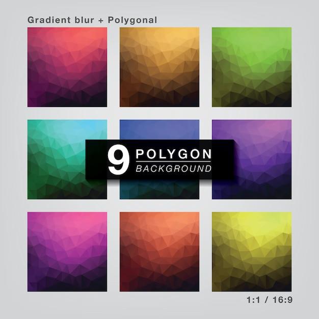Impostare 9 colori sfumati poligonali per lo sfondo Vettore Premium