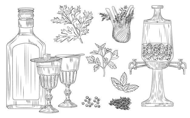 Set di assenzio. bicchiere da cocktail e bottiglia, cucchiaio, zucchero, fontana, assenzio, finocchio, prezzemolo, aneto, menta, coriandolo anice ghiaccio incisione stile vintage Vettore Premium