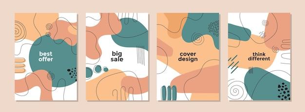 Set di modello artistico creativo astratto per copertina Vettore Premium