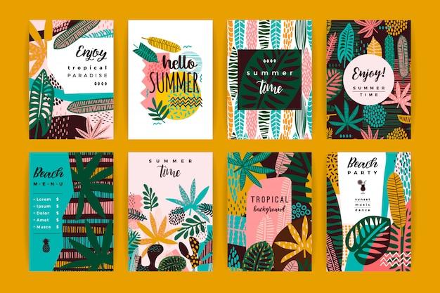 Set di modelli creativi astratti con foglie tropicali Vettore Premium