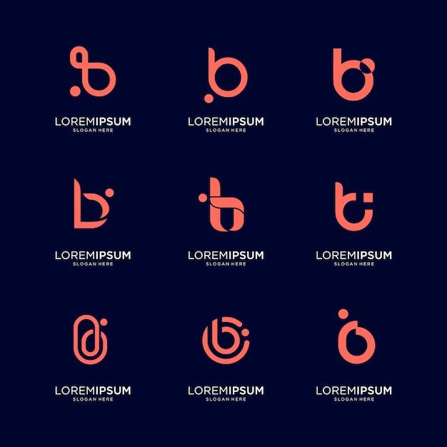 Set di abstract lettera iniziale b logo modello. icone per affari di lusso, eleganti, semplici. Vettore Premium