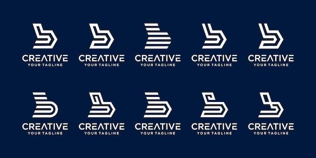 Set di abstract lettera iniziale b logo modello. Vettore Premium