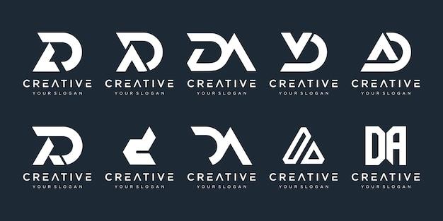 Set di lettera iniziale astratta d, un modello di logo. icone per affari di moda, sport, automobilistico, semplice. Vettore Premium