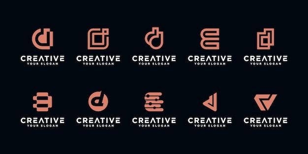 Set di astratto lettera iniziale d, modello di logo. icone per affari di lusso, eleganti, semplici. Vettore Premium