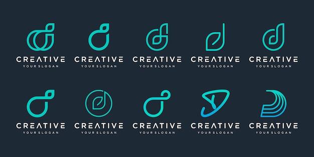 Set di modello astratto logo iniziale lettera d. icone per affari di lusso, eleganti, semplici. Vettore Premium