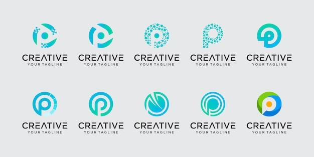 Set di astratto modello di lettera iniziale p logo. icone per il business della moda, digitale, tecnologia, Vettore Premium