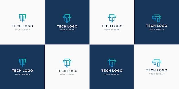 Set di astratto lettera iniziale t monogramma logo modello. Vettore Premium