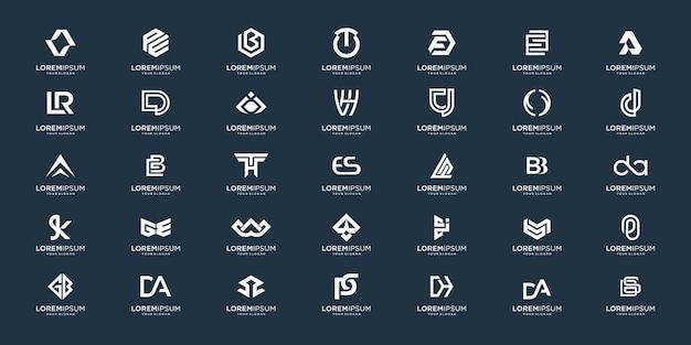 Set di abstract iniziale az. monogramma logo design, icone per affari di lusso, elegante e casuale. Vettore Premium