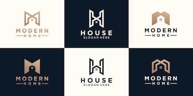 Set di minimalista astratto lettera mh con logo design per la casa Vettore Premium