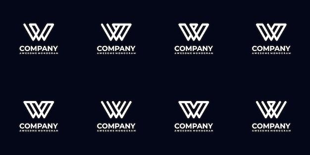 Set di raccolta di logo lettera monogramma astratto per azienda Vettore Premium