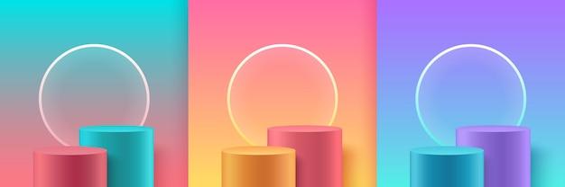 Set di palcoscenico astratto colore pastello per premi in moderno. Vettore Premium