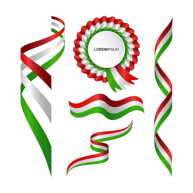 Set di astratto bandiera ondulata dell'italia con stile del nastro Vettore Premium