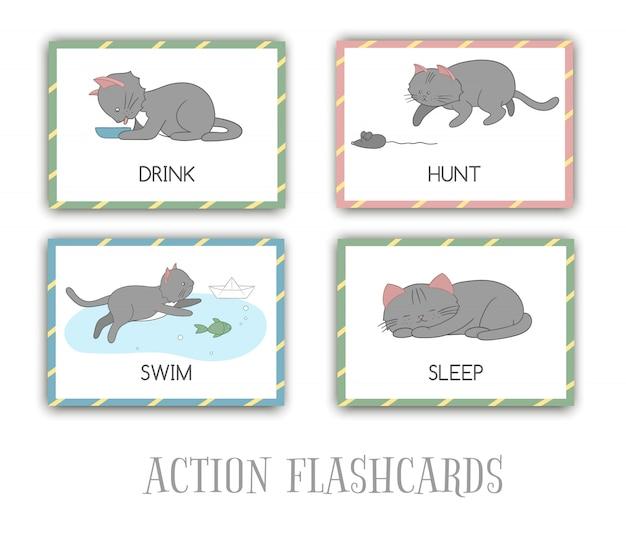 Serie di azioni flash card con cat. simpatico personaggio che nuota, caccia, dorme, beve. schede per l'apprendimento precoce. Vettore Premium