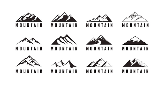 Set di logo di avventura con l'icona di montagna Vettore Premium