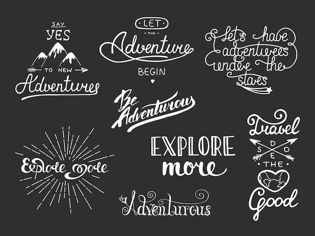 Set di lettere disegnate a mano di viaggio e avventura Vettore Premium