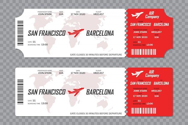 Set di biglietti di imbarco aereo su uno sfondo trasparente Vettore Premium