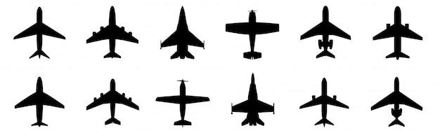 Impostare l'icona dell'aeroplano. stile piano di velivoli Vettore Premium
