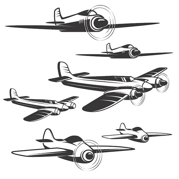 Insieme delle icone dell'aeroplano su fondo bianco. elementi per logo, etichetta, emblema, segno. Vettore Premium