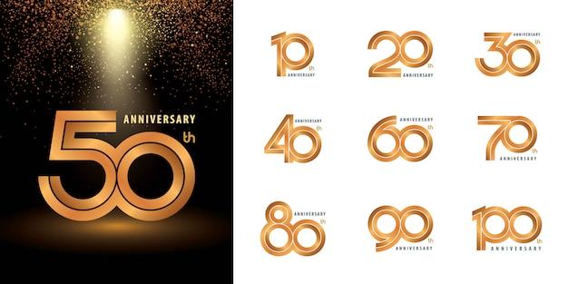 Set di etichette per anniversario Vettore Premium
