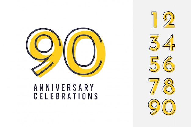 Impostare il modello di progettazione del logo dell'anniversario. Vettore Premium