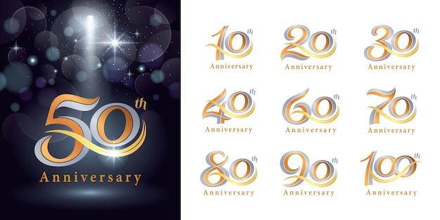 Set di design logotipo anniversario, elegante logo classico, lettere serif vintage e retrò Vettore Premium
