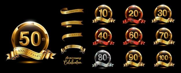 Set di logotipo anniversario e nastro d'oro. disegno dell'emblema celebrazione anniversario d'oro Vettore Premium