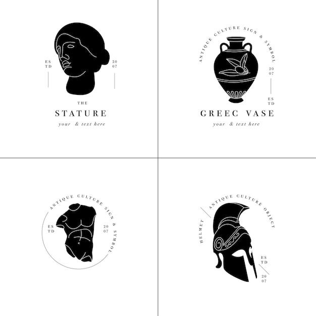 Set di loghi antichi: statue, anfore e elmo. antichi elementi in stile greco o romano. Vettore Premium