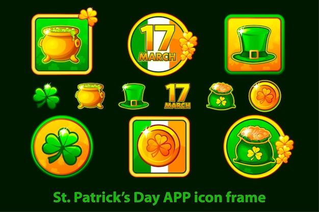 Set di icone di app in una cornice per il giorno di san patrizio su uno sfondo verde. Vettore Premium