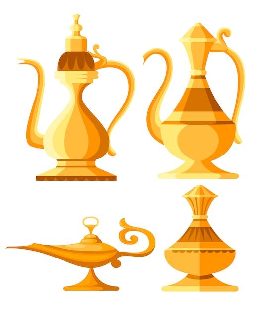 Set di brocca araba e illustrazione di lampada a olio. lampada magica o genio di aladino. illustrazione di stile. su sfondo bianco Vettore Premium