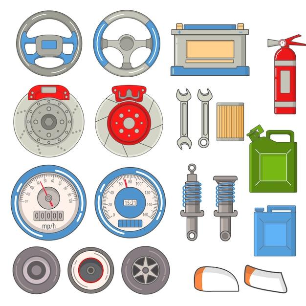 Set ricambi auto riparazioni volante, tachimetro, estintore, fari, dischi freno, accumulatore, chiavi. Vettore Premium