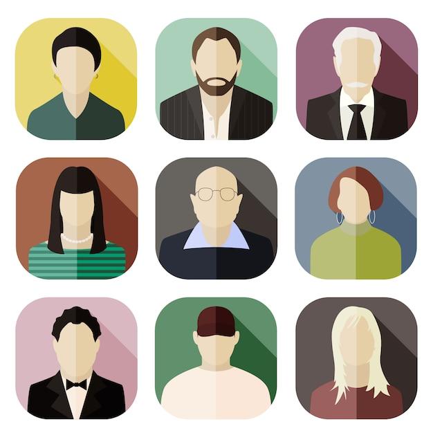 Set di icone avatar Vettore Premium