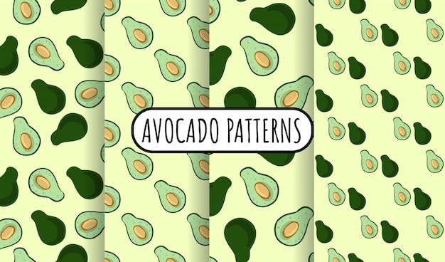 Insieme di modelli senza cuciture di scarabocchi di avocado. intero avocado e mezza verdura tagliata su fondo verde. collezione di piastrelle di carta da parati consistenza vegan stock Vettore Premium