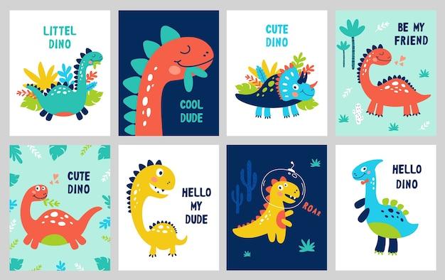 Set baby print con dino. può essere utilizzato per poster, carta, banner, flyer. disegnato a mano. Vettore Premium