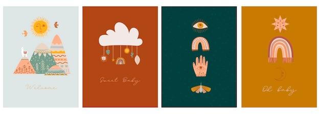 Set di carte baby shower con graziosi elementi boho per bambini, decorativi e animali Vettore Premium