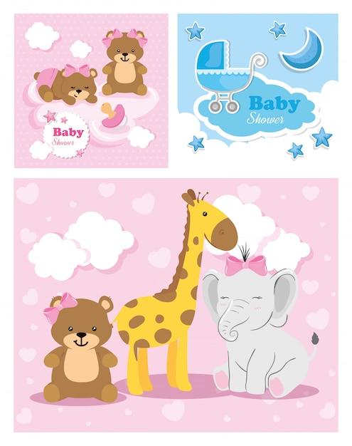 Set di carte per baby shower con decorazioni carine Vettore Premium