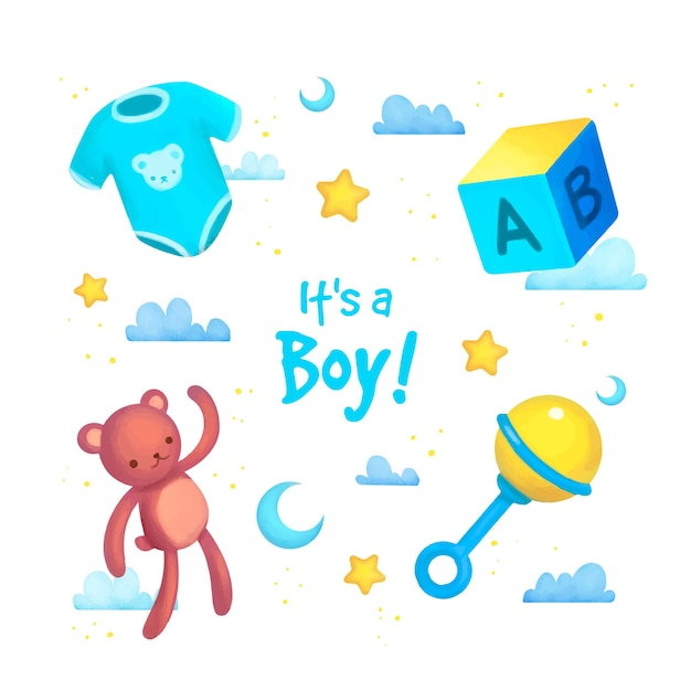Set di elementi baby shower per ragazzo Vettore Premium