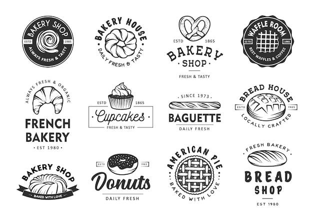 Set di etichette da forno, distintivi, emblemi e logo Vettore Premium