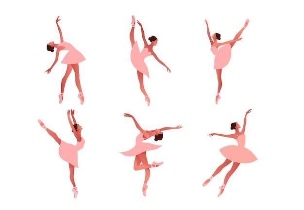 Set di ballerine ballerine nell'illustrazione di scarpe da punta. bellezza del balletto classico. giovane ballerina graziosa donna che indossa tutu. performance, colori pastello Vettore Premium